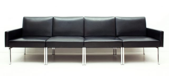 Black Leather & Chrome Modular Sofa