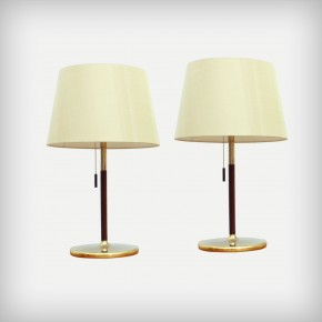 Set Of 2 Gold And Wood Table Lights