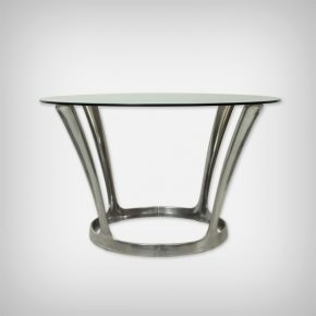 Aluminum & Smoked Glass Dining Table