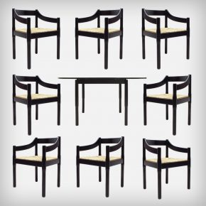 Black Beech Wood & Woven Rush Seating Dining Room Set • Model Carimate