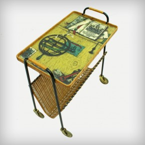 Metal & Rattan Serving Trolley