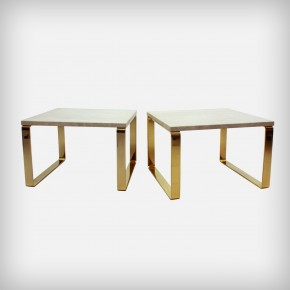 Gold & Travertine Side Tables • 1062 Primus