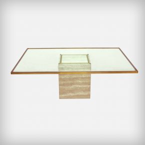 Travertine, Brass & Glass Coffee Table