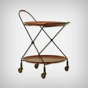 Foldable Metal & Teak Serving Trolley