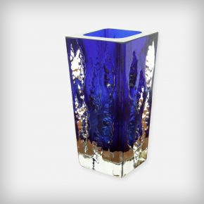 Blue & Clear Ice Glass Vase • Model 3077