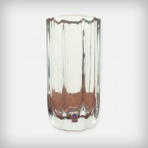 Heavy Octagonal Crystal Glass Vase