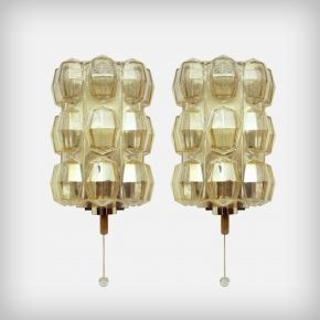 Set Of 2 Brass & Glass Wall Lamps