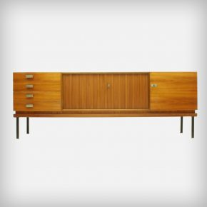 Walnut Sideboard With Slatted Doors & Brass Details