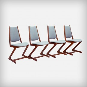 Set Of 4 Zigzag Teak Dining Chairs